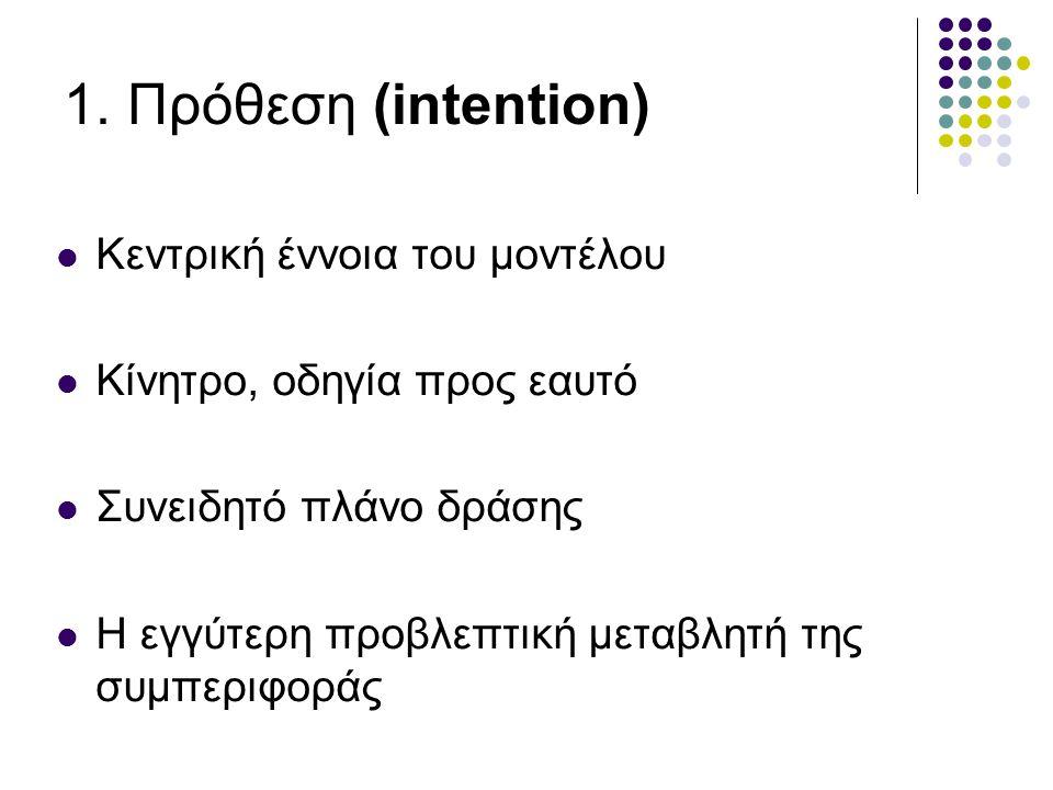 1. Πρόθεση (intention) Κεντρική έννοια του μοντέλου Κίνητρο, οδηγία προς εαυτό Συνειδητό πλάνο δράσης Η εγγύτερη προβλεπτική μεταβλητή της συμπεριφορά