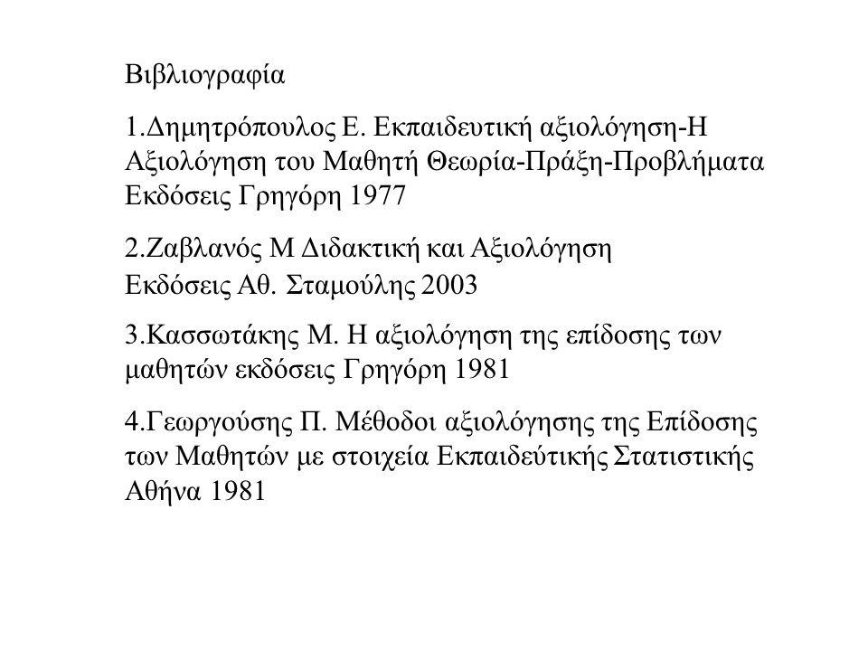 Βιβλιογραφία 1.Δημητρόπουλος Ε.