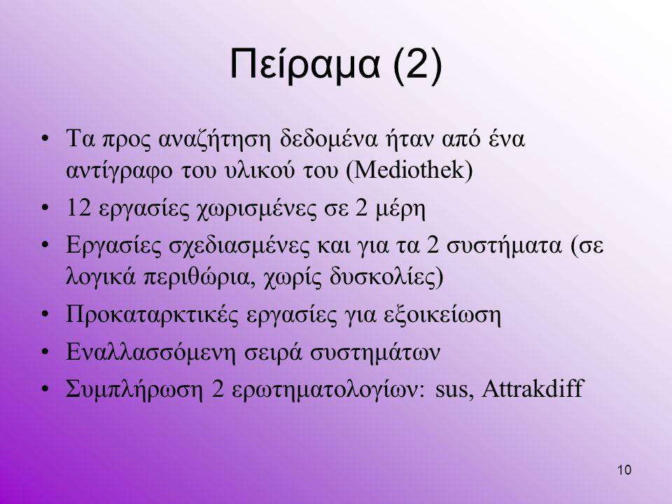 10 Πείραμα (2) Τα προς αναζήτηση δεδομένα ήταν από ένα αντίγραφο του υλικού του (Mediothek) 12 εργασίες χωρισμένες σε 2 μέρη Εργασίες σχεδιασμένες και
