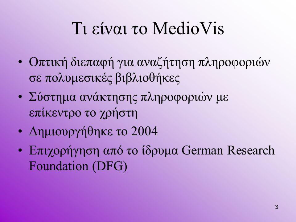 3 Τι είναι το MedioVis Οπτική διεπαφή για αναζήτηση πληροφοριών σε πολυμεσικές βιβλιοθήκες Σύστημα ανάκτησης πληροφοριών με επίκεντρο το χρήστη Δημιουργήθηκε το 2004 Επιχορήγηση από το ίδρυμα German Research Foundation (DFG)