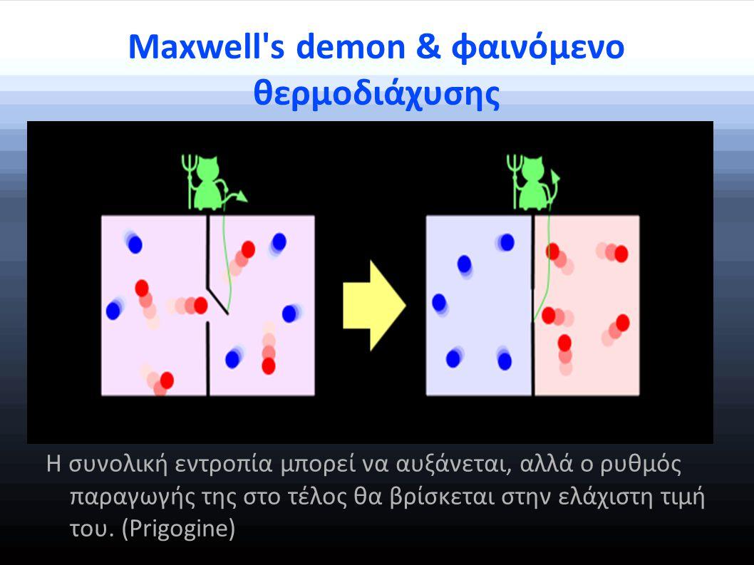 Maxwell s demon & φαινόμενο θερμοδιάχυσης Η συνολική εντροπία μπορεί να αυξάνεται, αλλά ο ρυθμός παραγωγής της στο τέλος θα βρίσκεται στην ελάχιστη τιμή του.