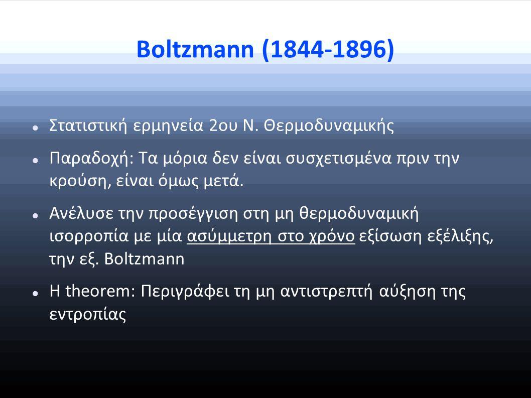 Boltzmann (1844-1896) Στατιστική ερμηνεία 2ου Ν.