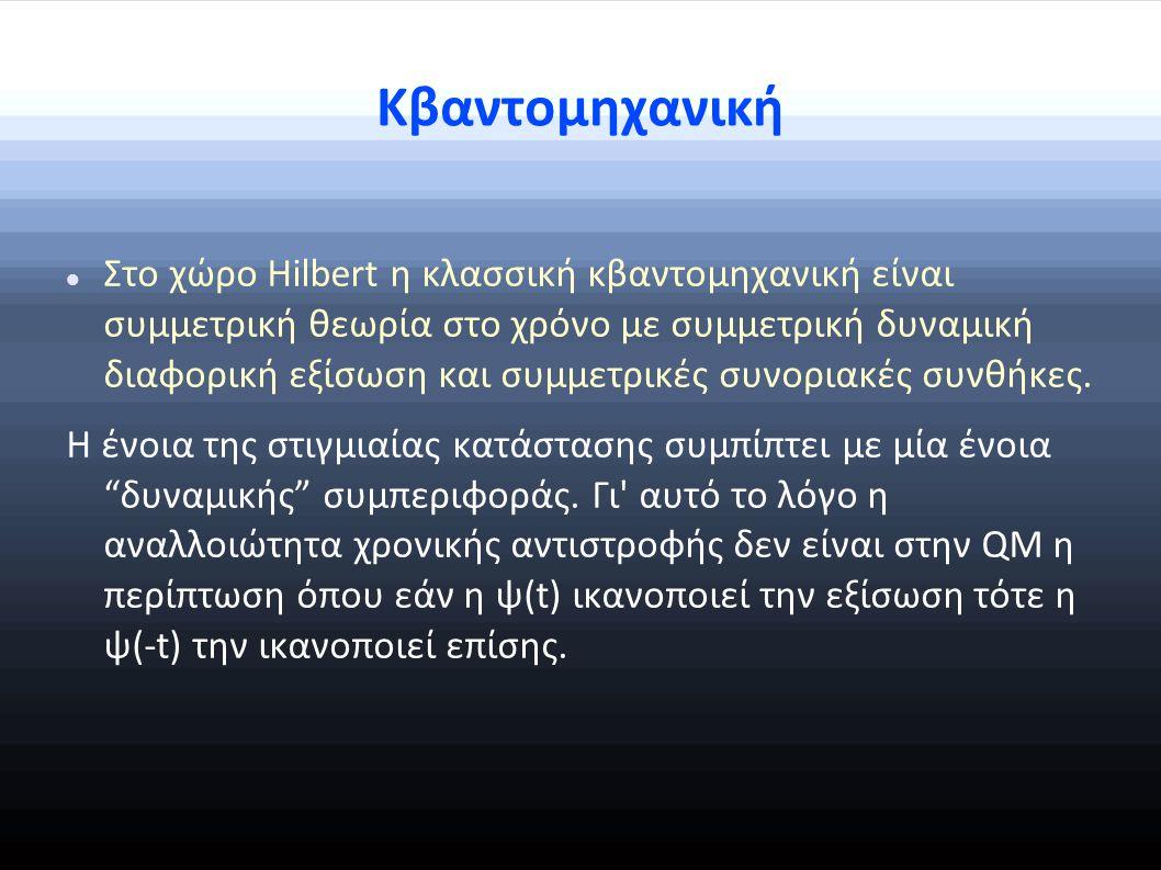 Κβαντομηχανική Στο χώρο Hilbert η κλασσική κβαντομηχανική είναι συμμετρική θεωρία στο χρόνο με συμμετρική δυναμική διαφορική εξίσωση και συμμετρικές συνοριακές συνθήκες.