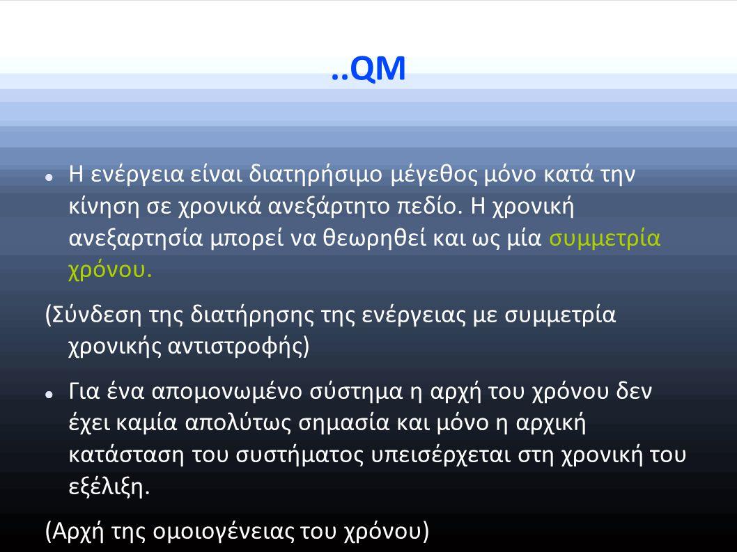 ..QM Η ενέργεια είναι διατηρήσιμο μέγεθος μόνο κατά την κίνηση σε χρονικά ανεξάρτητο πεδίο.