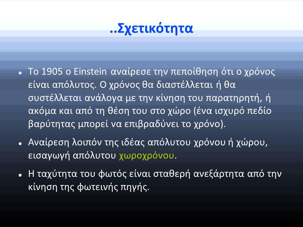 ..Σχετικότητα Το 1905 ο Einstein αναίρεσε την πεποίθηση ότι ο χρόνος είναι απόλυτος.
