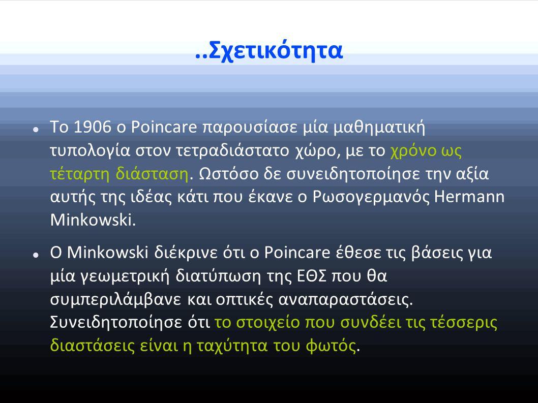 ..Σχετικότητα Το 1906 ο Poincare παρουσίασε μία μαθηματική τυπολογία στον τετραδιάστατο χώρο, με το χρόνο ως τέταρτη διάσταση.