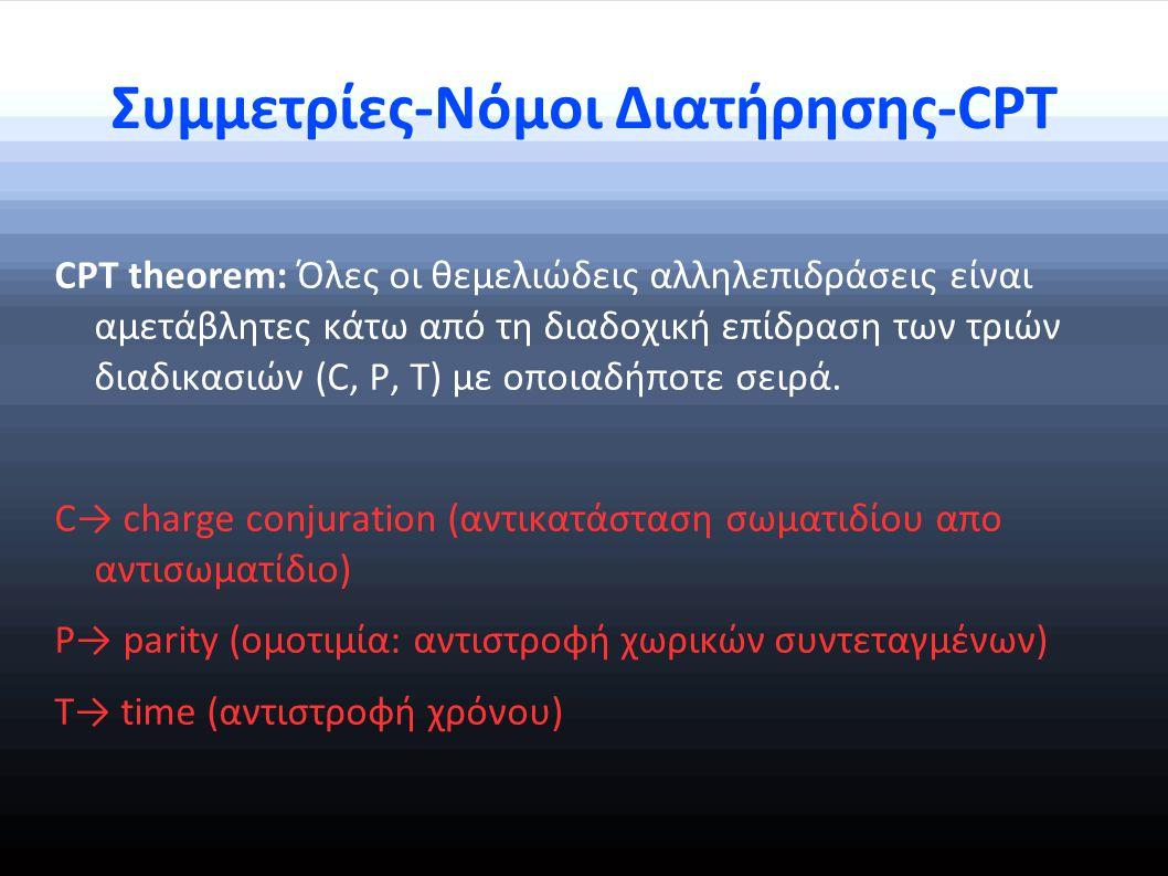 Συμμετρίες-Νόμοι Διατήρησης-CPT CPT theorem: Όλες οι θεμελιώδεις αλληλεπιδράσεις είναι αμετάβλητες κάτω από τη διαδοχική επίδραση των τριών διαδικασιών (C, P, T) με οποιαδήποτε σειρά.