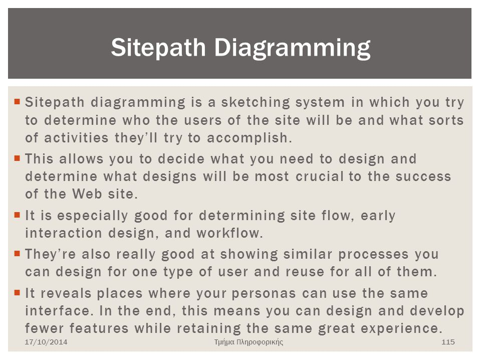 Τμήμα Πληροφορικής  Sitepath diagramming is a sketching system in which you try to determine who the users of the site will be and what sorts of acti