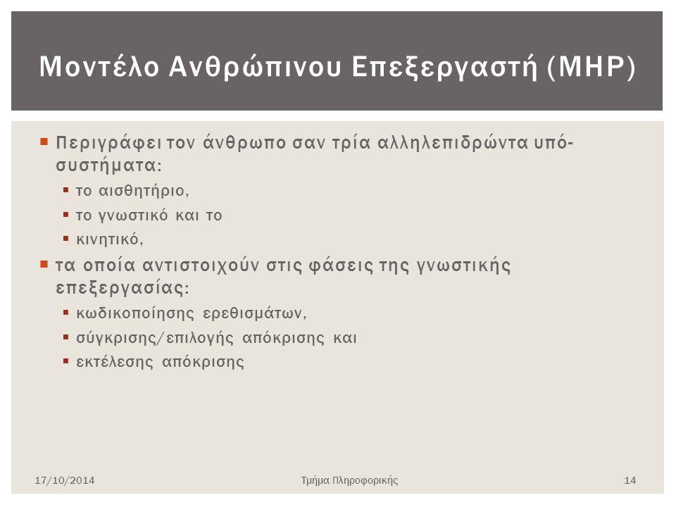 Μοντέλο Ανθρώπινου Επεξεργαστή (MHP)  Περιγράφει τον άνθρωπο σαν τρία αλληλεπιδρώντα υπό- συστήματα:  το αισθητήριο,  το γνωστικό και το  κινητικό