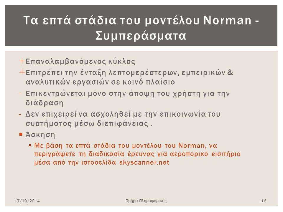 Τα επτά στάδια του μοντέλου Norman - Συμπεράσματα  Επαναλαμβανόμενος κύκλος  Επιτρέπει την ένταξη λεπτομερέστερων, εμπειρικών & αναλυτικών εργασιών