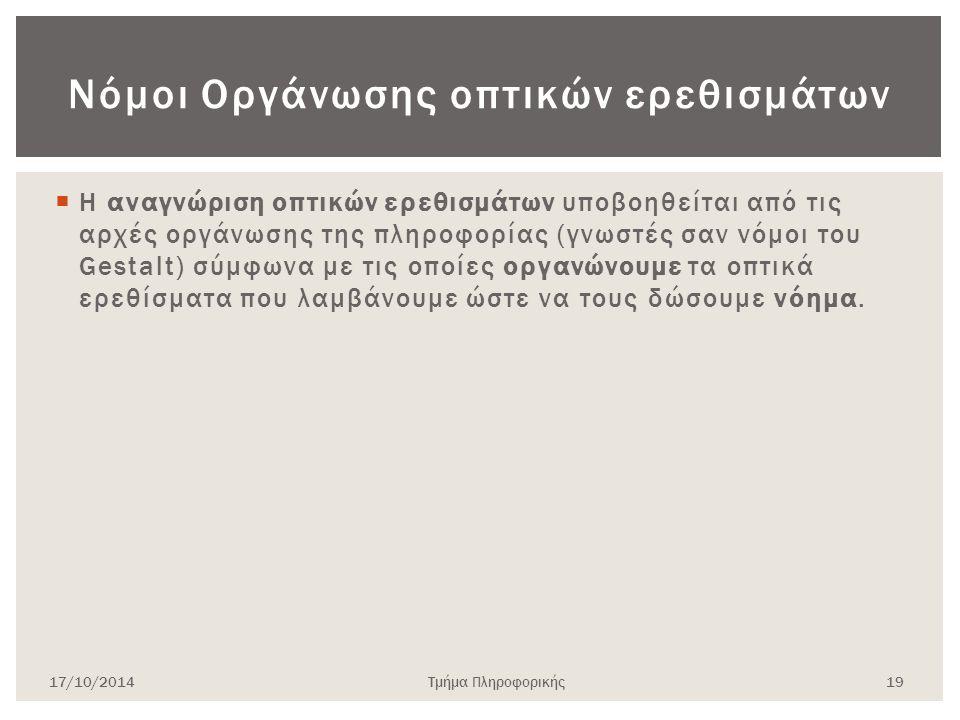 Νόμοι Οργάνωσης οπτικών ερεθισμάτων  Η αναγνώριση οπτικών ερεθισμάτων υποβοηθείται από τις αρχές οργάνωσης της πληροφορίας (γνωστές σαν νόμοι του Ges