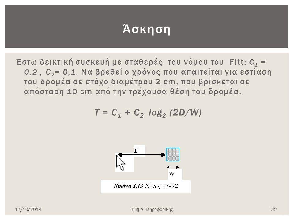 Άσκηση Έστω δεικτική συσκευή με σταθερές του νόμου του Fitt: C 1 = 0,2, C 2 = 0,1. Να βρεθεί ο χρόνος που απαιτείται για εστίαση του δρομέα σε στόχο δ
