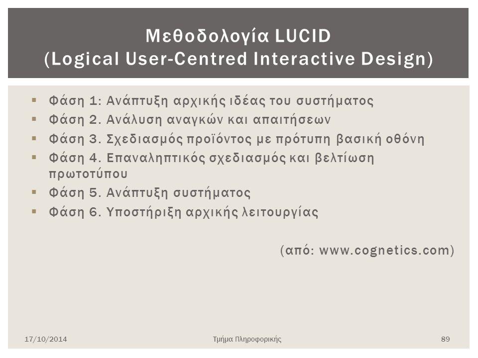 Μεθοδολογία LUCID (Logical User-Centred Interactive Design)  Φάση 1: Ανάπτυξη αρχικής ιδέας του συστήματος  Φάση 2. Ανάλυση αναγκών και απαιτήσεων 