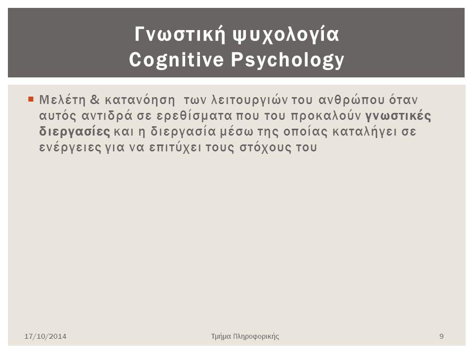Γνωστική ψυχολογία Cognitive Psychology  Μελέτη & κατανόηση των λειτουργιών του ανθρώπου όταν αυτός αντιδρά σε ερεθίσματα που του προκαλούν γνωστικές