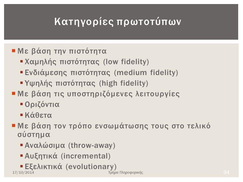Κατηγορίες πρωτοτύπων  Με βάση την πιστότητα  Χαμηλής πιστότητας (low fidelity)  Ενδιάμεσης πιστότητας (medium fidelity)  Yψηλής πιστότητας (high