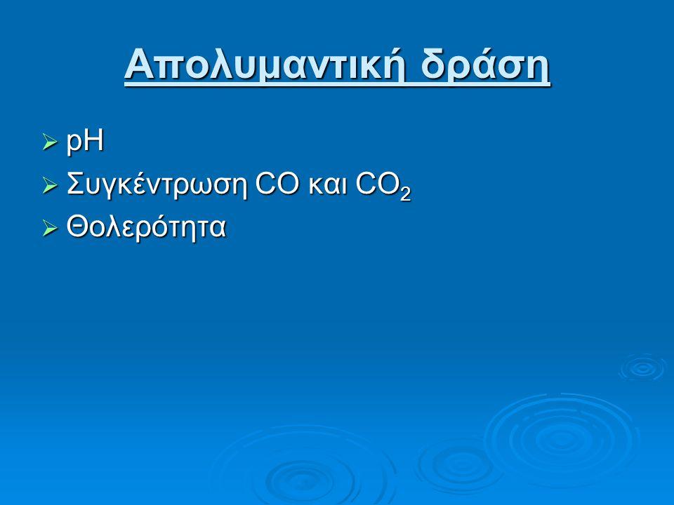 Απολυμαντική δράση  pH  Συγκέντρωση CO και CO 2  Θολερότητα