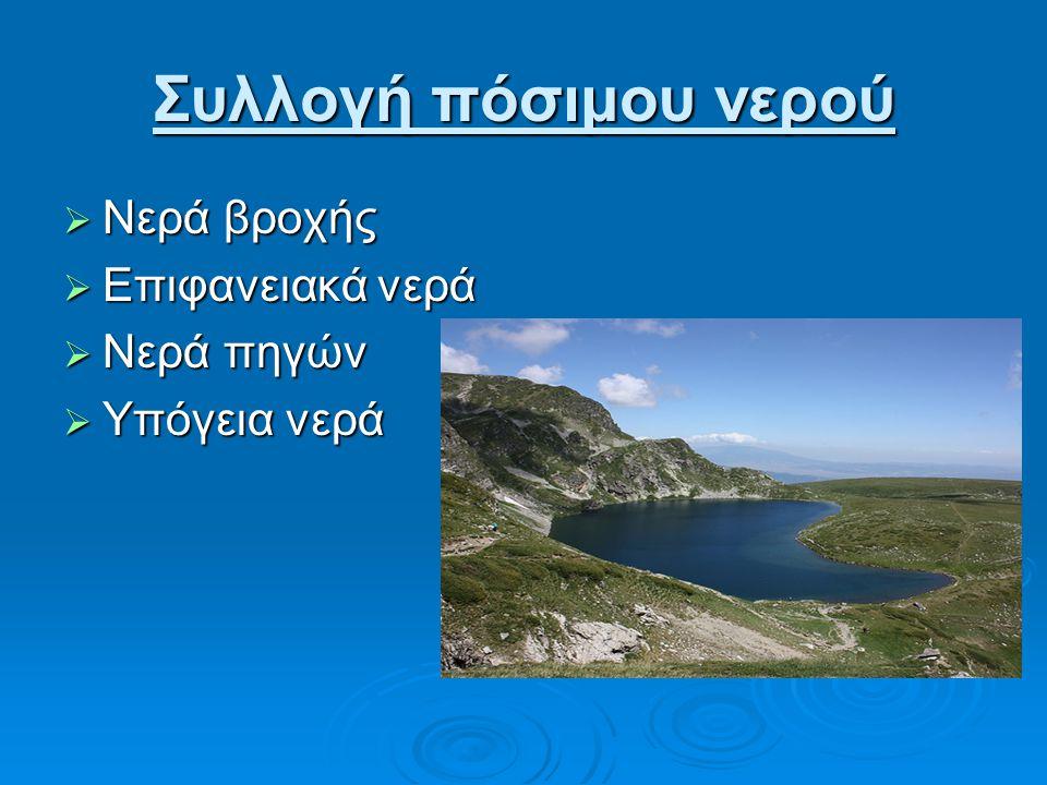 Συλλογή πόσιμου νερού  Νερά βροχής  Επιφανειακά νερά  Νερά πηγών  Υπόγεια νερά