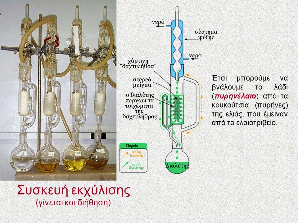 Συσκευή εκχύλισης (γίνεται και διήθηση) Έτσι μπορούμε να βγάλουμε το λάδι (πυρηνέλαιο) από τα κουκούτσια (πυρήνες) της ελιάς, που έμειναν από το ελαιο