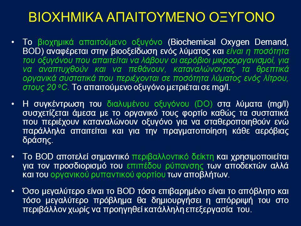 ΜΕΘΟΔΟΙ ΠΡΟΣΔΙΟΡΙΣΜΟΥ ΤΟΥ BOD ΜΕΘΟΔΟΣ Winkler Αρχή της μεθόδου Στη βιολογική οξείδωση το οργανικό φορτίο οξειδώνεται, με κατανάλωση του διαλυμένου στο νερό οξυγόνου πρώτα από τα βακτήρια, που παράγουν διοξείδιο του άνθρακα και πολλαπλασιάζονται και στη συνέχεια από τα πρωτόζωα τα οποία καταναλώνουν τα βακτηριακά κύτταρα.