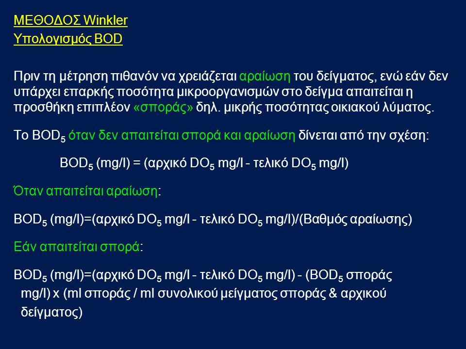 ΦΩΤΟΜΕΤΡΙΚΗ ΜΕΘΟΔΟΣ ΠΡΟΣΔΙΟΡΙΣΜΟΥ BOD 5 ΑΝΤΙΔΡΑΣΤΗΡΙΑ Απιονισμένο νερό Αντιδραστήριο BOD5-TT R1 (διάλυμα MnCl 2 ) Αντιδραστήριο BOD5-TT R2 (αλκαλικό (NaOH, 25%) διάλυμα ιωδιούχου καλίου (ΚΙ)) Αντιδραστήριο BOD5-TT R3 (υδατικό διάλυμα H 2 SO 4 63%) D(+)-Glucose (Μ.Β.