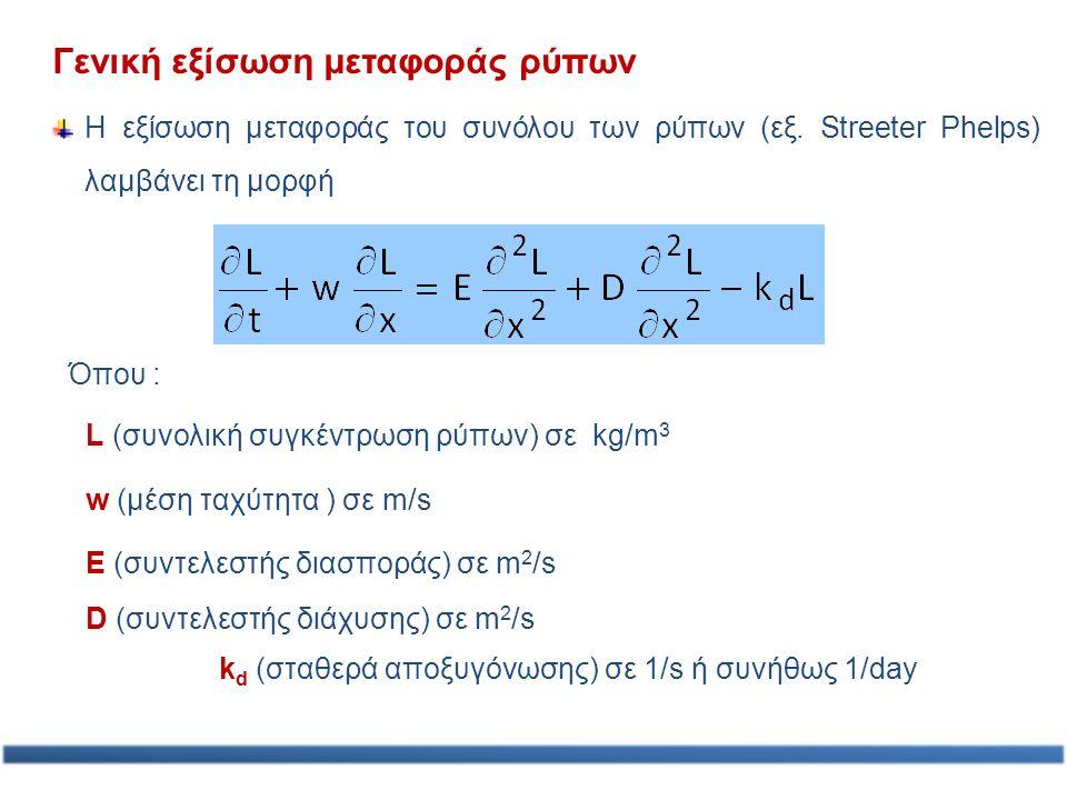 Γενική εξίσωση μεταφοράς ρύπων Η εξίσωση μεταφοράς του συνόλου των ρύπων (εξ. Streeter Phelps) λαμβάνει τη μορφή L (συνολική συγκέντρωση ρύπων) σε kg/