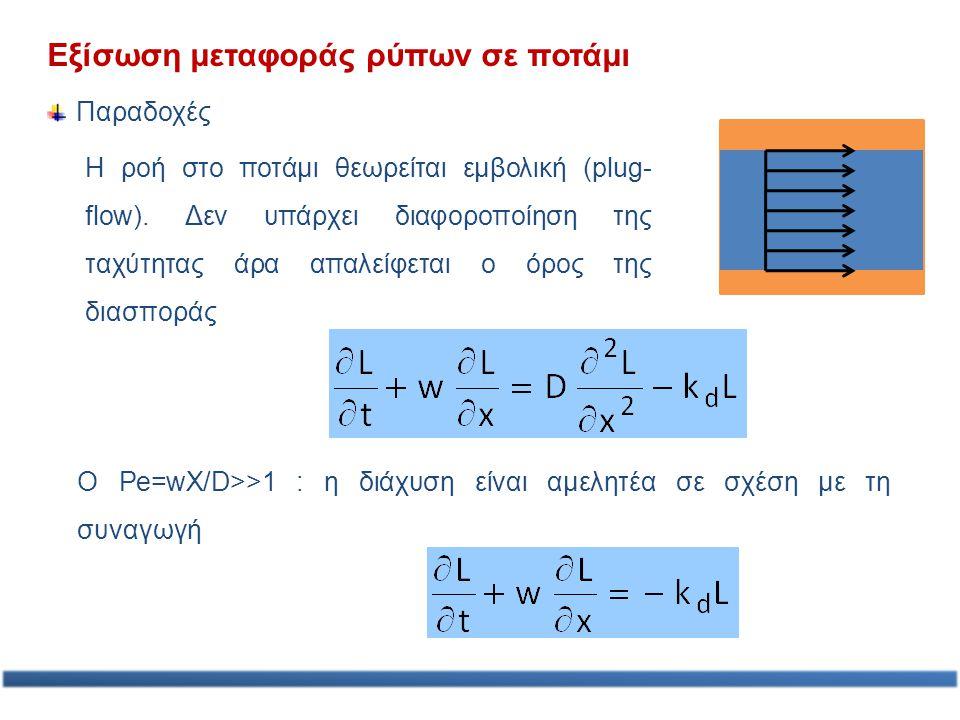 Εξίσωση μεταφοράς ρύπων σε ποτάμι Παραδοχές Η ροή στο ποτάμι θεωρείται εμβολική (plug- flow). Δεν υπάρχει διαφοροποίηση της ταχύτητας άρα απαλείφεται