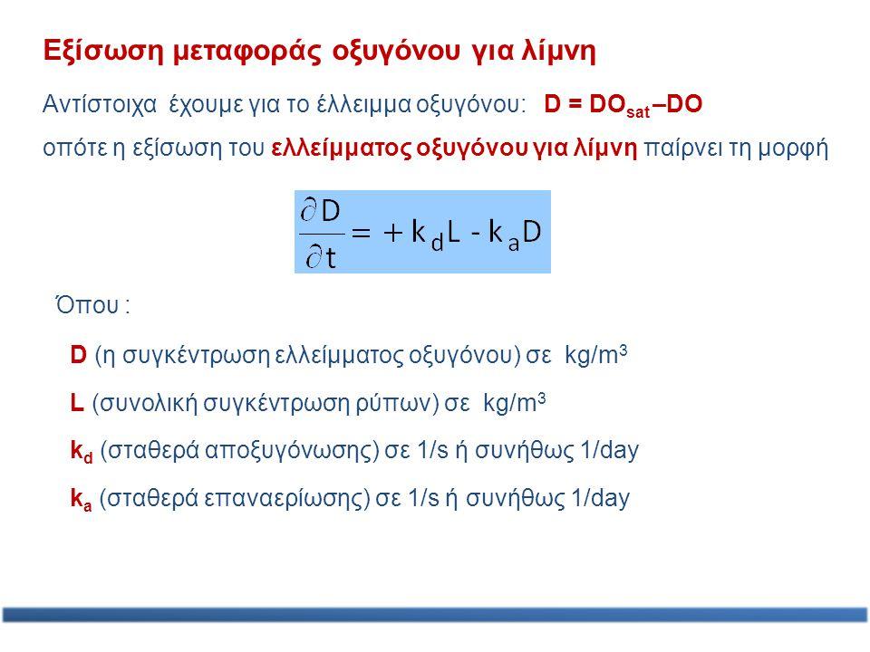 Εξίσωση μεταφοράς οξυγόνου για λίμνη Αντίστοιχα έχουμε για το έλλειμμα οξυγόνου: D = DO sat –DO οπότε η εξίσωση του ελλείμματος οξυγόνου για λίμνη παί