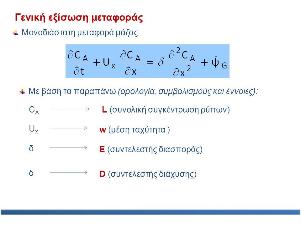 Γενική εξίσωση μεταφοράς Μονοδιάστατη μεταφορά μάζας Με βάση τα παραπάνω (ορολογία, συμβολισμούς και έννοιες): CACA L (συνολική συγκέντρωση ρύπων) UxU