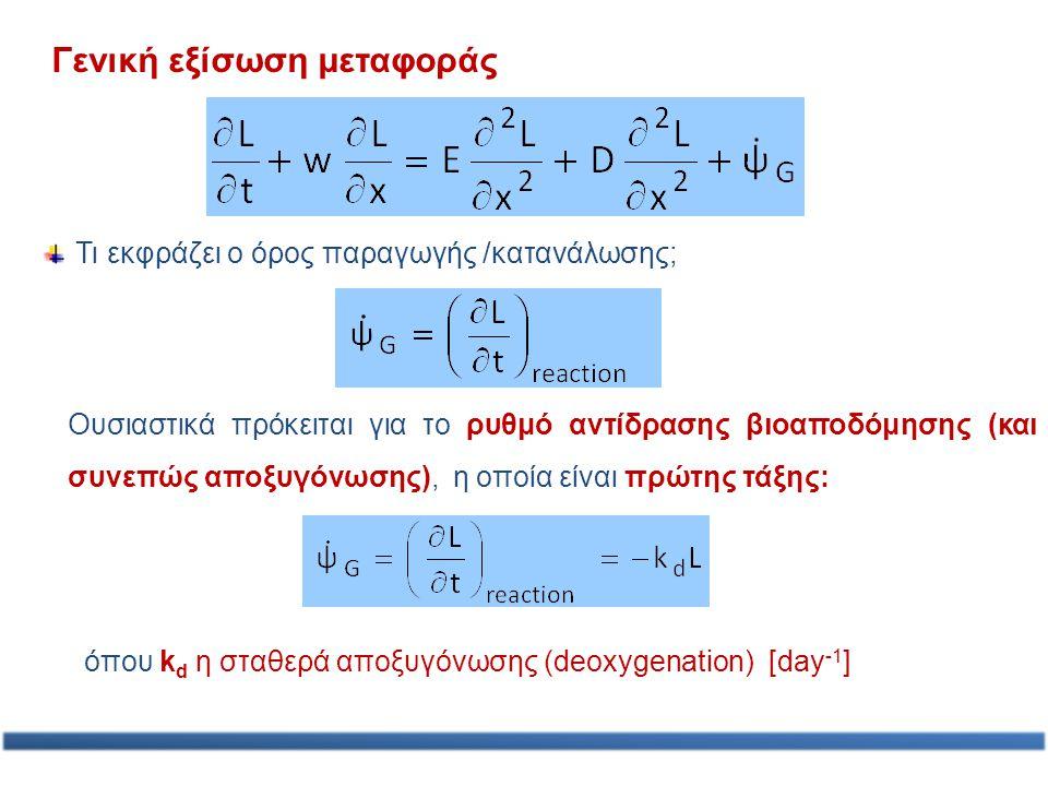 Γενική εξίσωση μεταφοράς Τι εκφράζει ο όρος παραγωγής /κατανάλωσης; Ουσιαστικά πρόκειται για το ρυθμό αντίδρασης βιοαποδόμησης (και συνεπώς αποξυγόνωσ