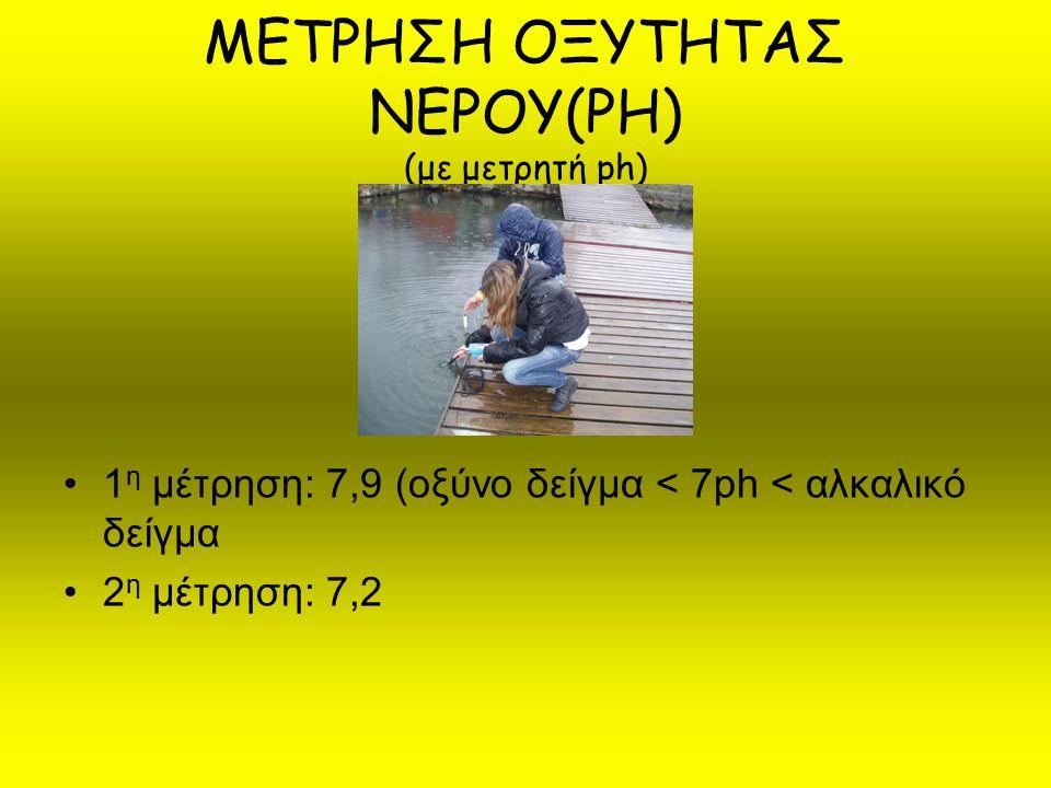 ΜΕΤΡΗΣΗ ΟΞΥΤΗΤΑΣ ΝΕΡΟΥ(PH) (με μετρητή ph) 1 η μέτρηση: 7,9 (οξύνo δείγμα < 7ph < αλκαλικό δείγμα 2 η μέτρηση: 7,2