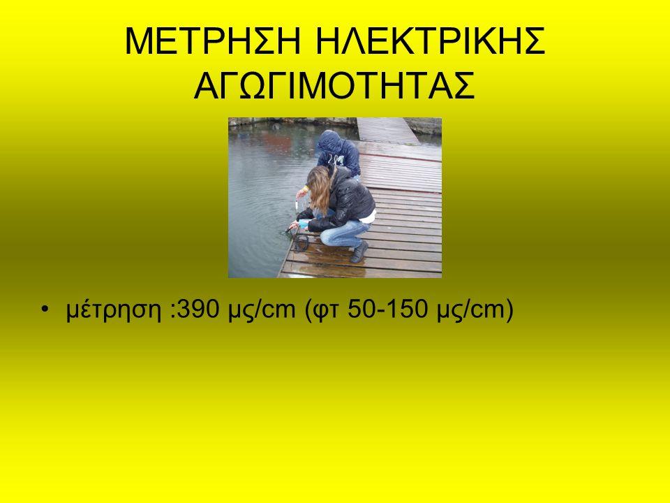 ΜΕΤΡΗΣΗ ΗΛΕΚΤΡΙΚΗΣ ΑΓΩΓΙΜΟΤΗΤΑΣ μέτρηση :390 μς/cm (φτ 50-150 μς/cm)