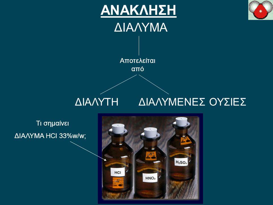 Μοριακοί τύποι: ΑΝΑΚΛΗΣΗ ΗClΗCl, HNO 3, H 2 SO 4, CH 3 COOHHNO 3H 2 SO 4CH 3 COOH Τι συμβολίζουν;