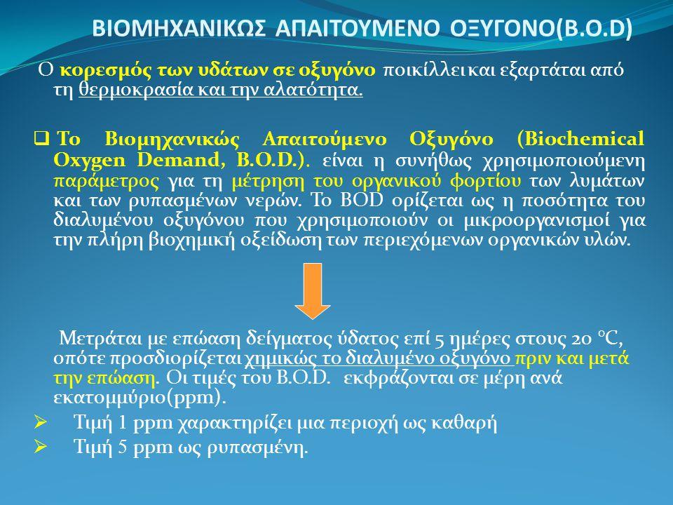 ΒΙΟΜΗΧΑΝΙΚΩΣ ΑΠΑΙΤΟΥΜΕΝΟ ΟΞΥΓΟΝΟ(Β.Ο.D) Ο κορεσμός των υδάτων σε οξυγόνο ποικίλλει και εξαρτάται από τη θερμοκρασία και την αλατότητα.  Το Βιομηχανικ