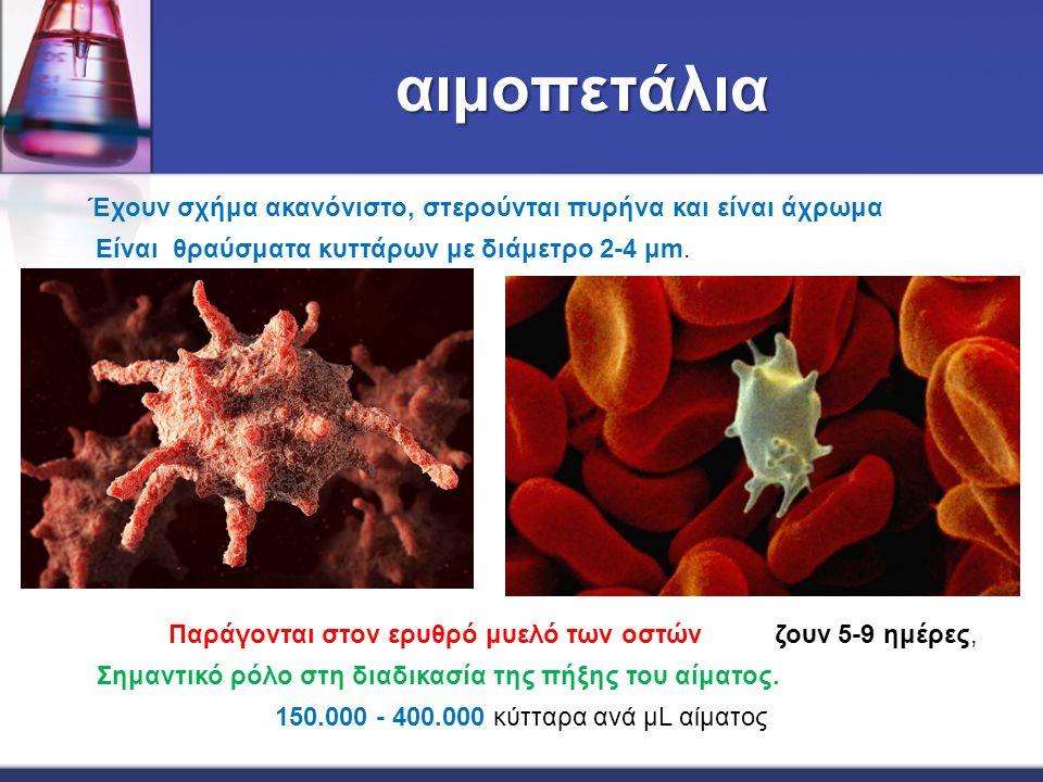 αιμοπετάλια 150.000 - 400.000 κύτταρα ανά μL αίματος Παράγονται στον ερυθρό μυελό των οστών ζουν 5-9 ημέρες, Σημαντικό ρόλο στη διαδικασία της πήξης τ