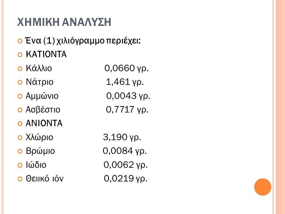 ΧΗΜΙΚΗ ΑΝΑΛΥΣΗ Ένα (1) χιλιόγραμμο περιέχει: ΚΑΤΙΟΝΤΑ Κάλλιο 0,0660 γρ. Νάτριο 1,461 γρ. Αμμώνιο 0,0043 γρ. Ασβέστιο 0,7717 γρ. ΑΝΙΟΝΤΑ Χλώριο 3,190 γ