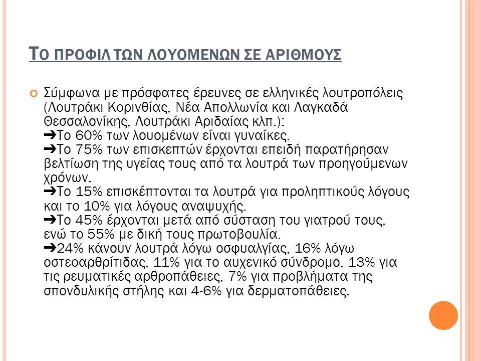 Τ Ο ΠΡΟΦΙΛ ΤΩΝ ΛΟΥΟΜΕΝΩΝ ΣΕ ΑΡΙΘΜΟΥΣ Σύμφωνα με πρόσφατες έρευνες σε ελληνικές λουτροπόλεις (Λουτράκι Κορινθίας, Νέα Απολλωνία και Λαγκαδά Θεσσαλονίκη