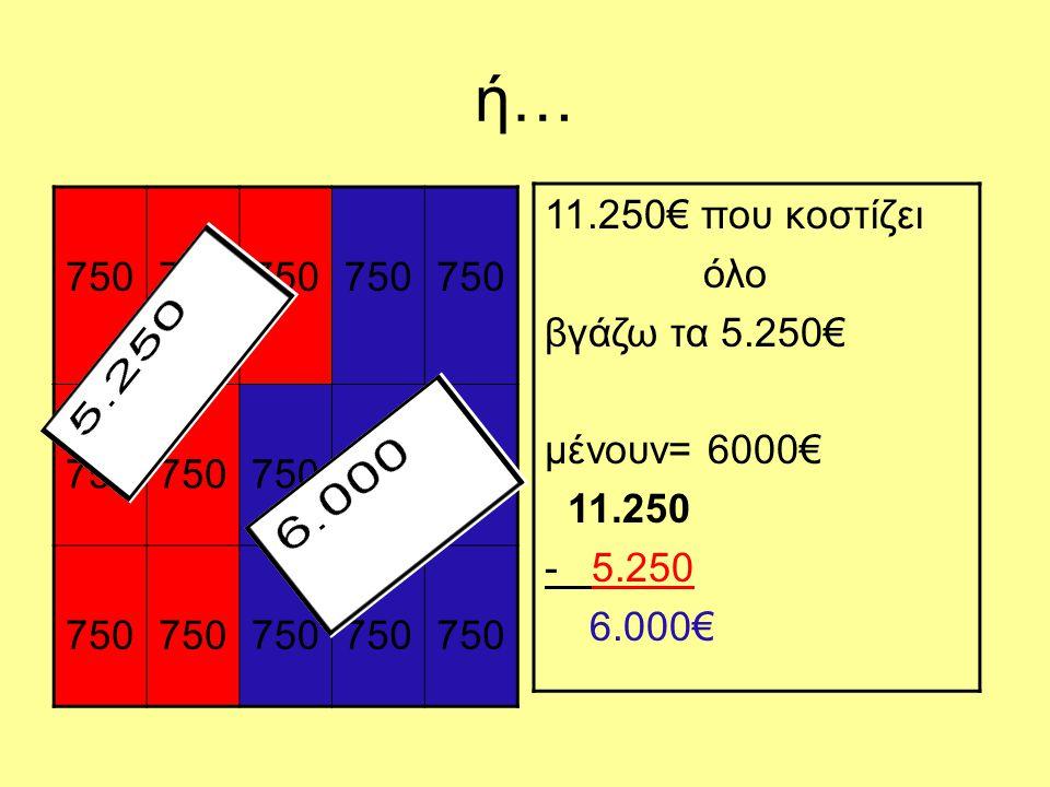 ή… 750 11.250€ που κοστίζει όλο βγάζω τα 5.250€ μένουν= 6000€ 11.250 - 5.250 6.000€
