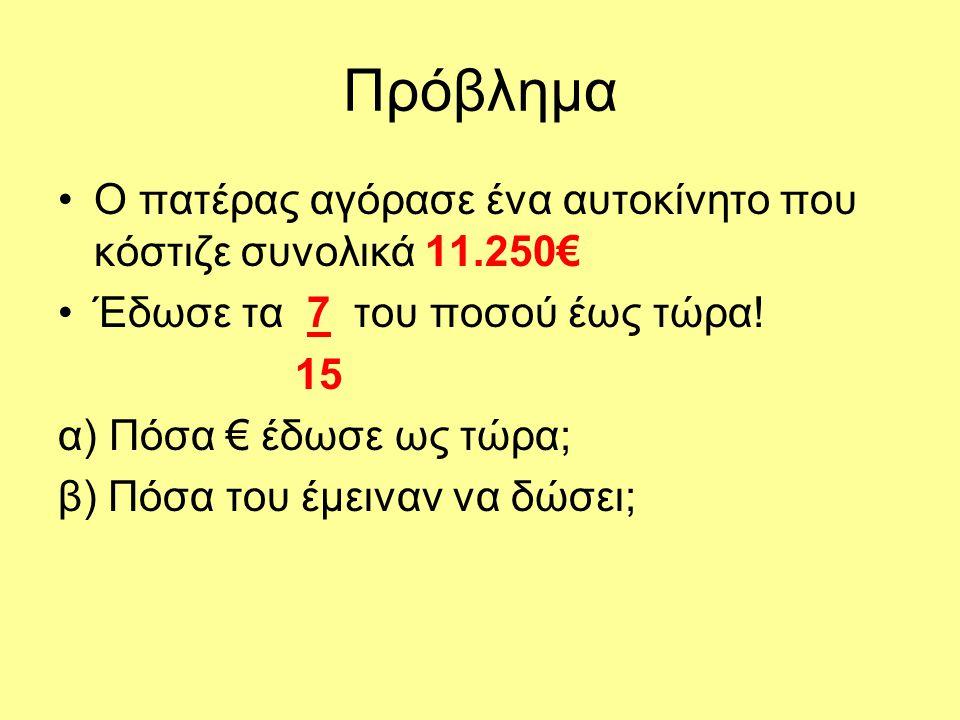 Πρόβλημα Ο πατέρας αγόρασε ένα αυτοκίνητο που κόστιζε συνολικά 11.250€ Έδωσε τα 7 του ποσού έως τώρα! 15 α) Πόσα € έδωσε ως τώρα; β) Πόσα του έμειναν