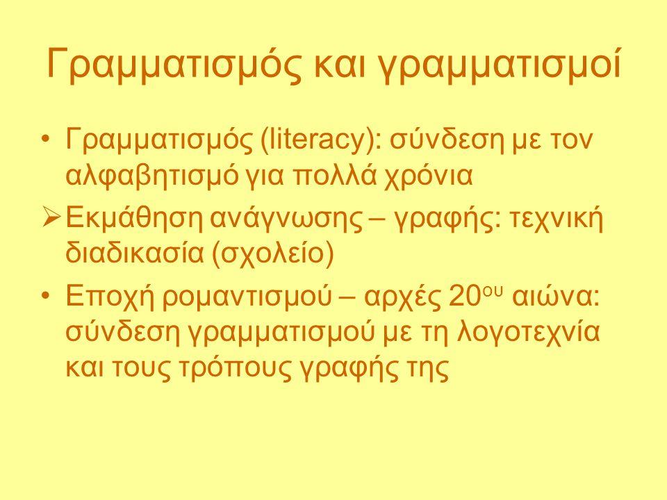 Γραμματισμός και γραμματισμοί Γραμματισμός (literacy): σύνδεση με τον αλφαβητισμό για πολλά χρόνια  Εκμάθηση ανάγνωσης – γραφής: τεχνική διαδικασία (