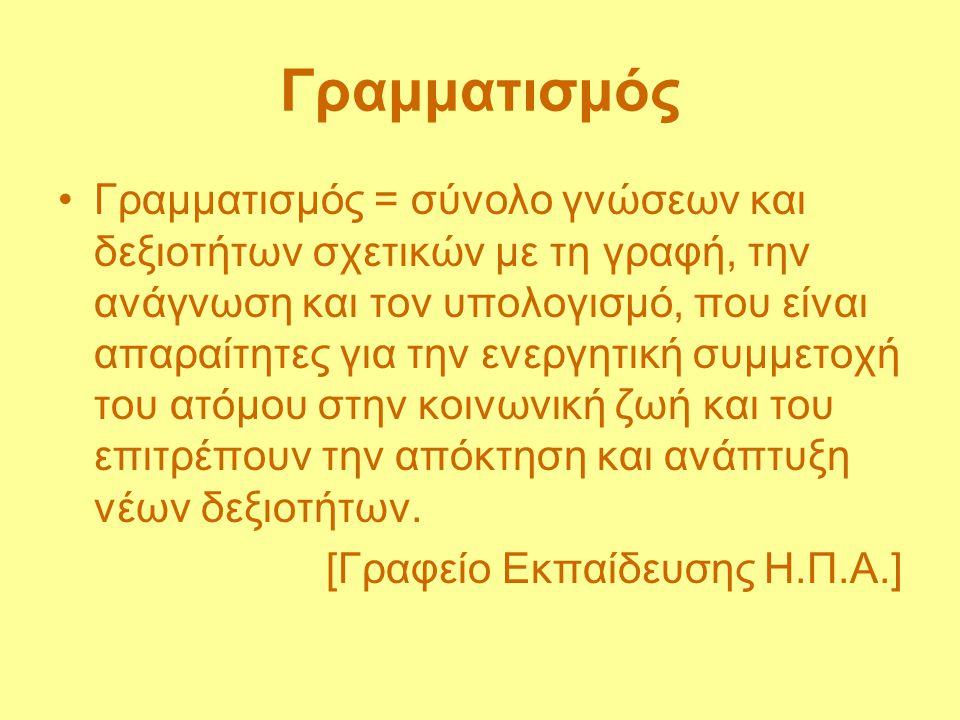 Γραμματισμός Γραμματισμός = σύνολο γνώσεων και δεξιοτήτων σχετικών με τη γραφή, την ανάγνωση και τον υπολογισμό, που είναι απαραίτητες για την ενεργητ
