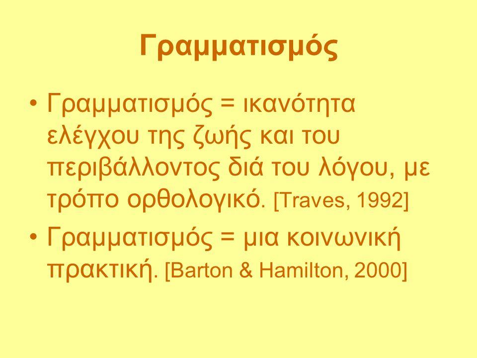 Γραμματισμός Γραμματισμός = ικανότητα ελέγχου της ζωής και του περιβάλλοντος διά του λόγου, με τρόπο ορθολογικό. [Traves, 1992] Γραμματισμός = μια κοι