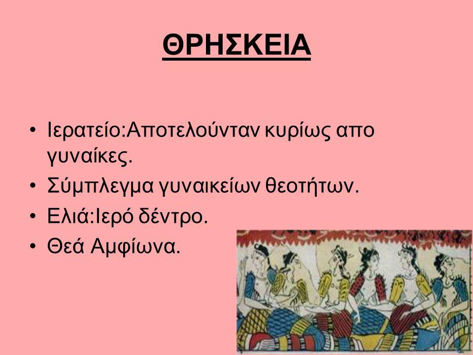 ΘΡΗΣΚΕΙΑ Ιερατείο:Αποτελούνταν κυρίως απο γυναίκες. Σύμπλεγμα γυναικείων θεοτήτων. Ελιά:Ιερό δέντρο. Θεά Αμφίωνα.