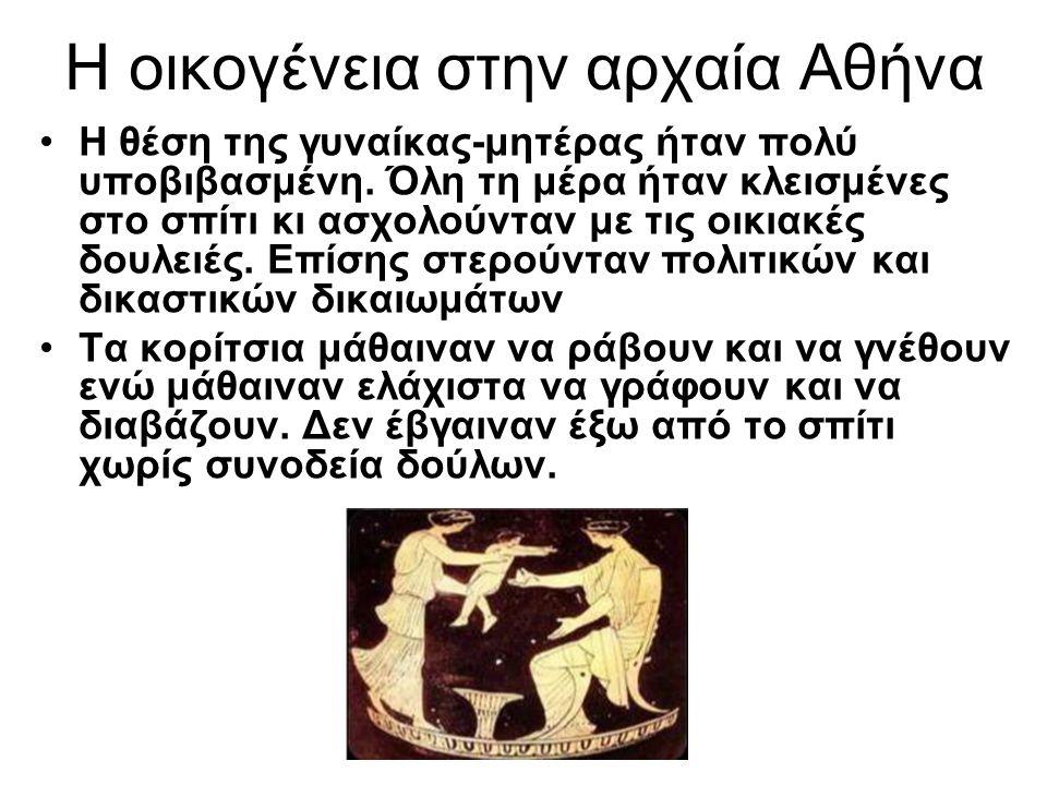 Η οικογένεια στην αρχαία Αθήνα Η θέση της γυναίκας-μητέρας ήταν πολύ υποβιβασμένη. Όλη τη μέρα ήταν κλεισμένες στο σπίτι κι ασχολούνταν με τις οικιακέ