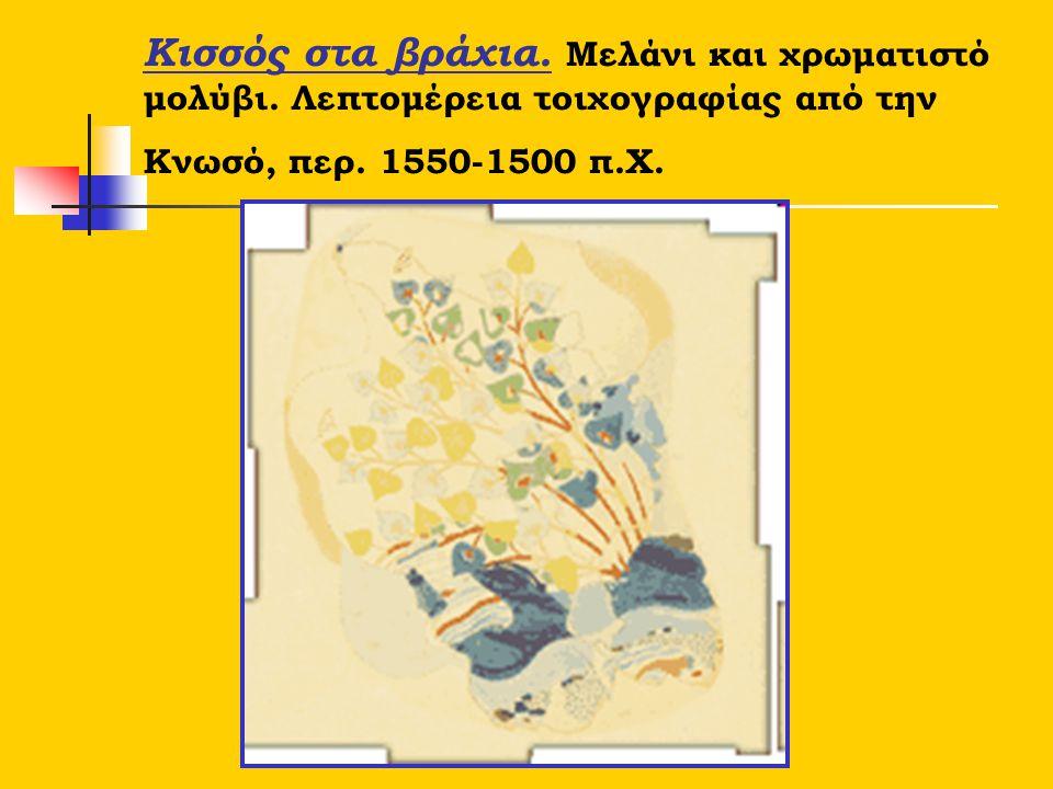 Κισσός στα βράχια. Μελάνι και χρωματιστό μολύβι. Λεπτομέρεια τοιχογραφίας από την Κνωσό, περ. 1550-1500 π.Χ.