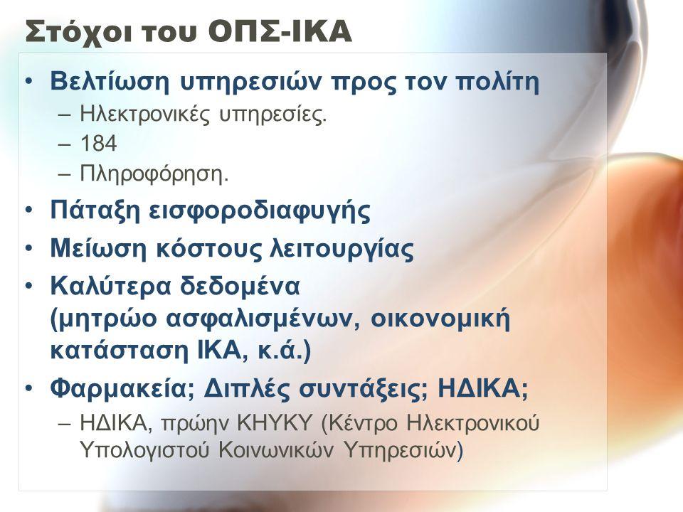 Στόχοι του ΟΠΣ-ΙΚΑ Βελτίωση υπηρεσιών προς τον πολίτη –Ηλεκτρονικές υπηρεσίες. –184 –Πληροφόρηση. Πάταξη εισφοροδιαφυγής Μείωση κόστους λειτουργίας Κα