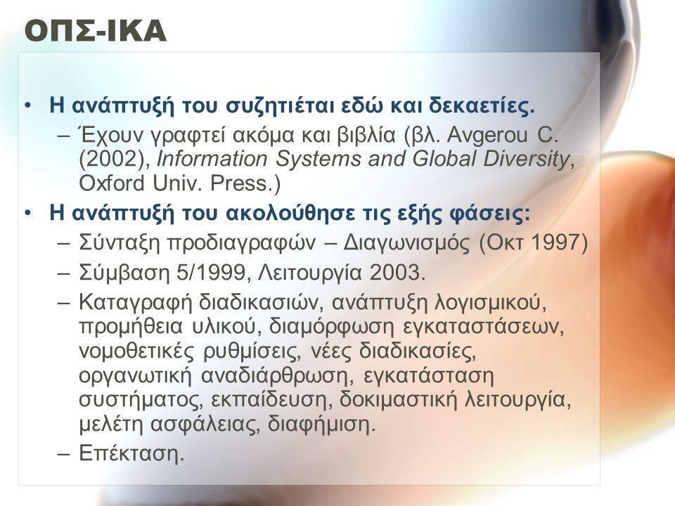 ΟΠΣ-ΙΚΑ Η ανάπτυξή του συζητιέται εδώ και δεκαετίες. –Έχουν γραφτεί ακόμα και βιβλία (βλ. Avgerou C. (2002), Information Systems and Global Diversity,
