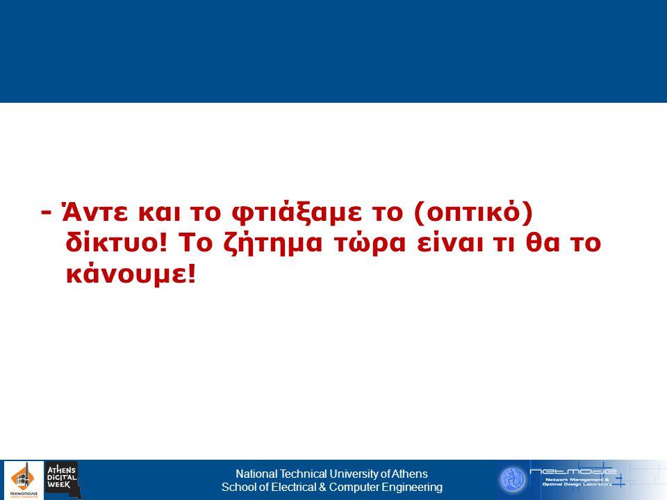 National Technical University of Athens School of Electrical & Computer Engineering Σ Υ Ζ Ε Υ Ξ Ι Σ Εθνικό Δίκτυο Δημόσιας Διοίκησης  Πρόγραμμα/Δίκτυο για την εξυπηρέτηση των τηλεπικοινωνιακών αναγκών του δημόσιου τομέα  Διασυνδέει διάφορους τομείς του στενού κι ευρύτερου δημόσιου τομέα (ΙΚΑ, δημόσιες υπηρεσίες, υπουργεία, δήμους, οικονομικές υπηρεσίες κ.α.)  Τηλεπικοινωνιακοί πάροχοι προσφέρουν υπηρεσίες οι οποίες έχουν προδιαγραφεί εκ των προτέρων  Σχεδιάζεται η νέα φάση του δικτύου Σύζευξις ΙΙ  Γιατί να μην αξιοποίησουμε τα οπτικά ΜΑΝ ως υποδομή πρόσβασης στο Σύζευξις ΙΙ;
