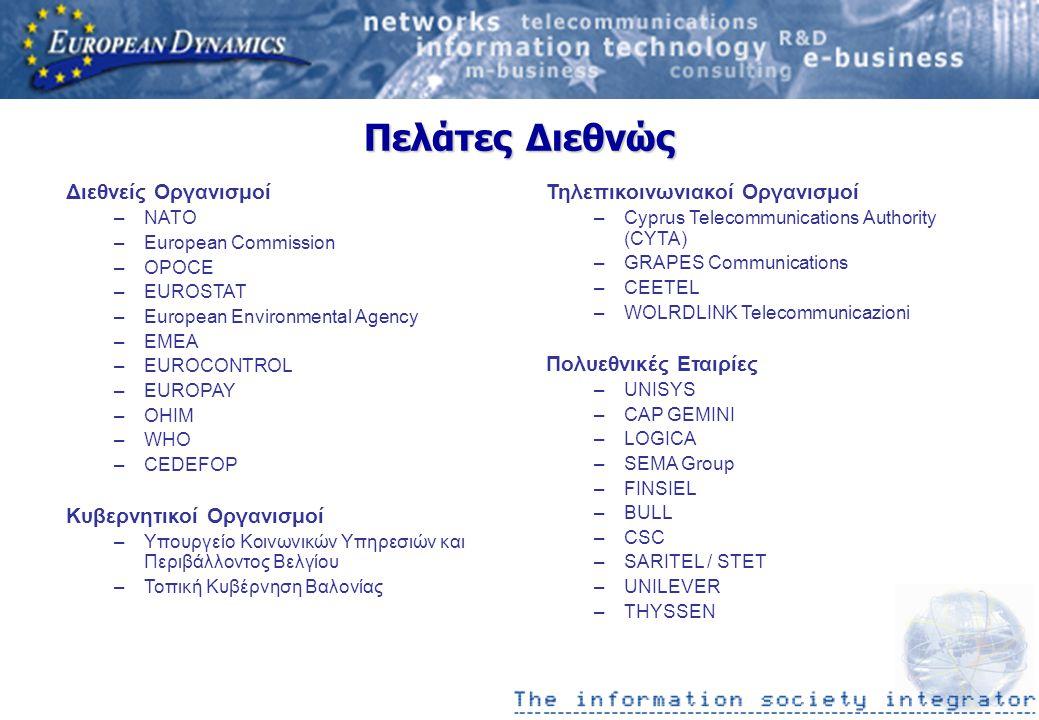 Πελάτες Διεθνώς Διεθνείς Οργανισμοί –NATO –European Commission –OPOCE –EUROSTAT –European Environmental Agency –EMEA –EUROCONTROL –EUROPAY –OHIM –WHO –CEDEFOP Κυβερνητικοί Οργανισμοί –Υπουργείο Κοινωνικών Υπηρεσιών και Περιβάλλοντος Βελγίου –Τοπική Κυβέρνηση Βαλονίας Τηλεπικοινωνιακοί Οργανισμοί –Cyprus Telecommunications Authority (CYTA) –GRAPES Communications –CEETEL –WOLRDLINK Telecommunicazioni Πολυεθνικές Εταιρίες –UNISYS –CAP GEMINI –LOGICA –SEMA Group –FINSIEL –BULL –CSC –SARITEL / STET –UNILEVER –THYSSEN