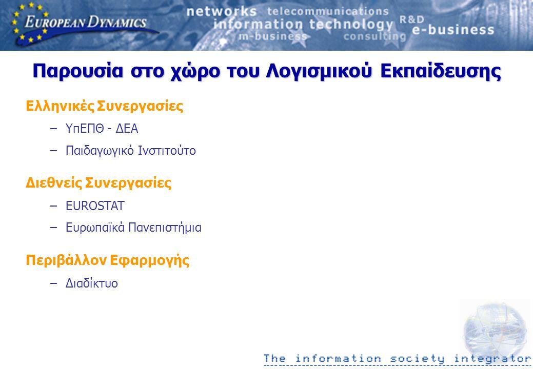 Παρουσία στο χώρο του Λογισμικού Εκπαίδευσης Ελληνικές Συνεργασίες –ΥπΕΠΘ - ΔΕΑ –Παιδαγωγικό Ινστιτούτο Διεθνείς Συνεργασίες –EUROSTAT –Ευρωπαϊκά Πανεπιστήμια Περιβάλλον Εφαρμογής –Διαδίκτυο