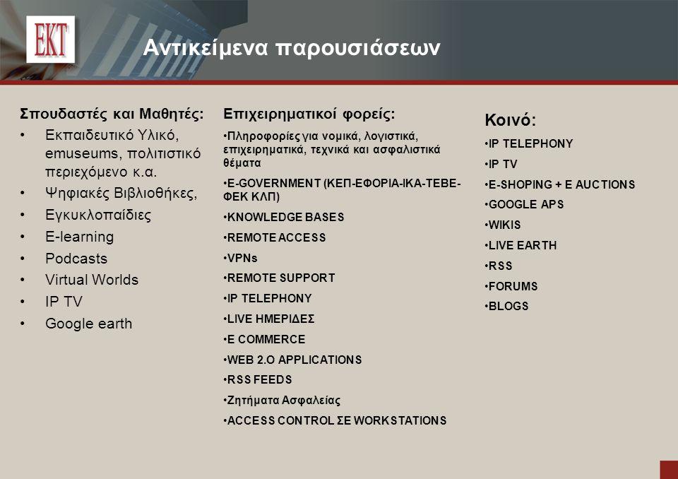 Αντικείμενα παρουσιάσεων Σπουδαστές και Μαθητές: Εκπαιδευτικό Υλικό, emuseums, πολιτιστικό περιεχόμενο κ.α.